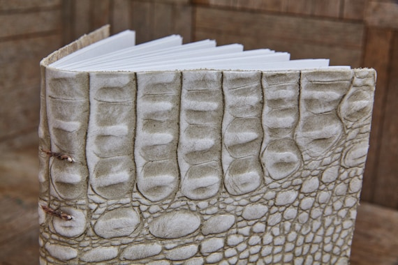 White Leather Medium Book 112 Blank Pages