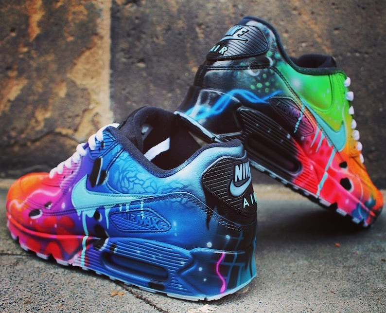 Nike Air Max 90 Blue Galaxy Style Painted Custom Shoes Sneaker image 0