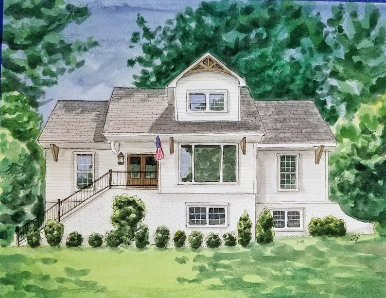 House Portrait. Watercolor painting of your home or business image 0