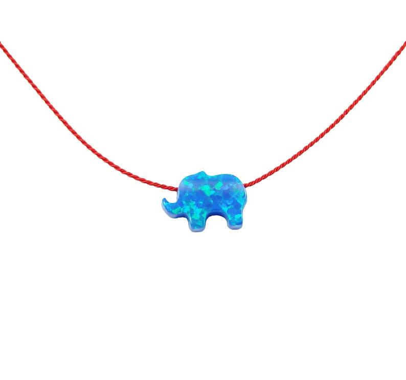 Opal Elephant Pendant Necklace Red Silk Cord Choker String Fashion Girls Jerwelry