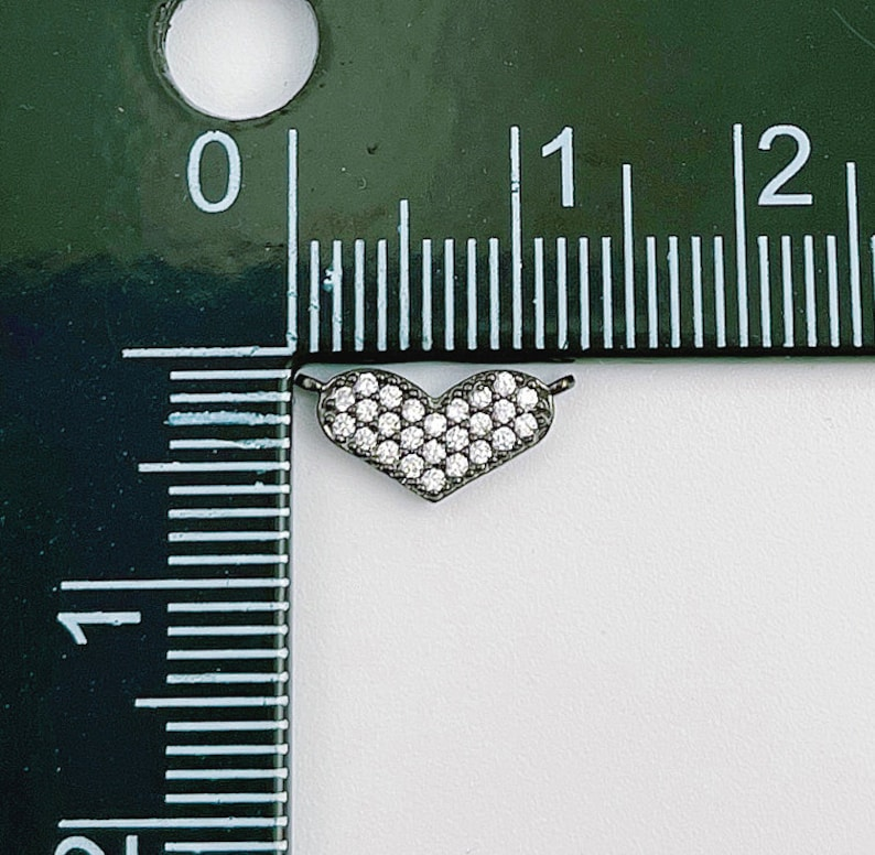 CN376 Cubic Zirconia Charm Connector for Jewelry Making Dainty 18K Gold Filled Heart Charm Connector Micro Pave Connector Link