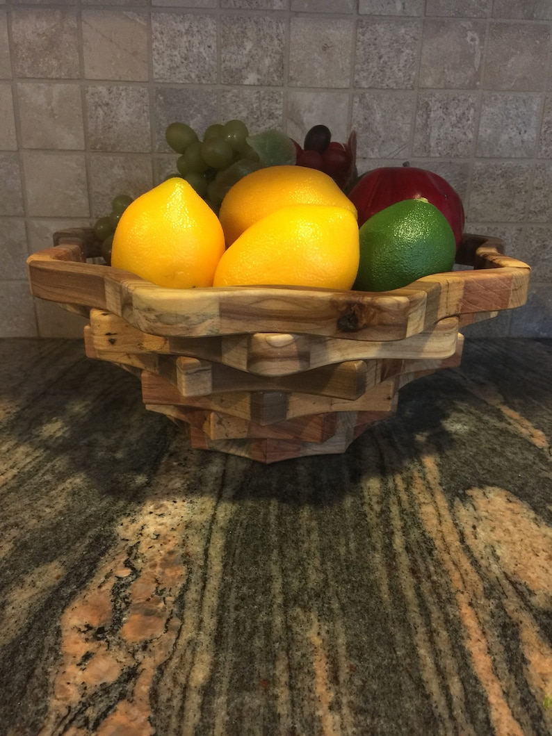 Poplar Wood Fruit bowl Bread bowl #17 Handmade USA