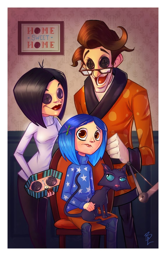 Coraline And Her Other Family Portrait 11x17 Inch Etsy