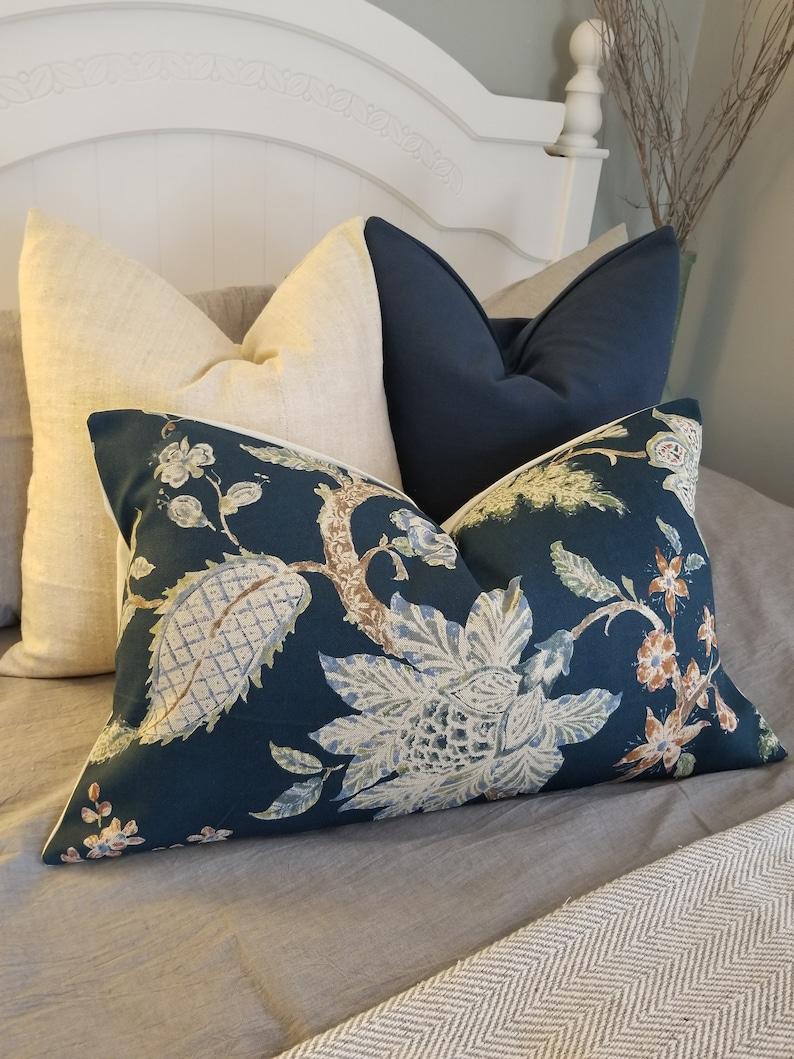 Florals.Dark Blue.Pillowcovers.Toss Pillow.Throw Pillows..Slipcovers.Pillow Cover.Home Decor.Floral.Branch