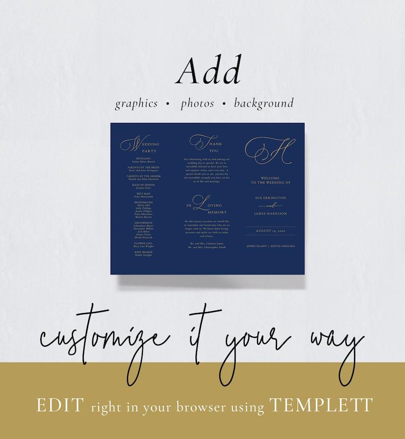 Gold Monogram Tri Fold Wedding Program-Trifold Program-Catholic Wedding Program-Gold Order of Service-Jewish Wedding Program-SN031/_TPG22