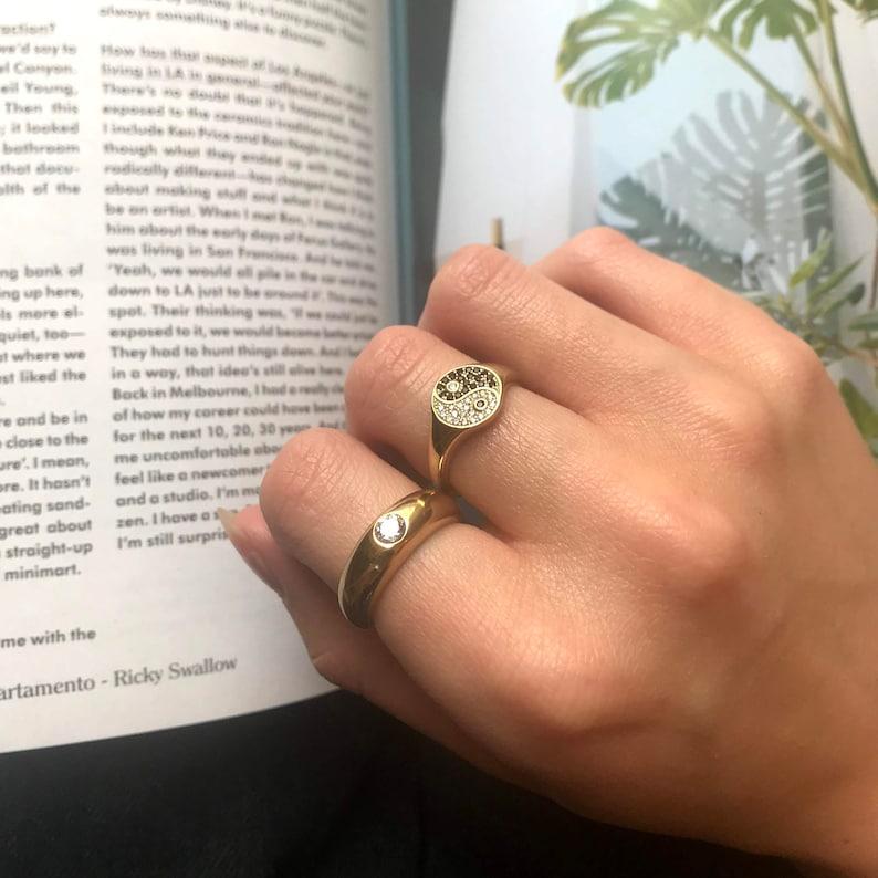 cz ring signet ring stacking ring gold ring yin yang pinky ring silver ring 90s- E4-R-2063 Yin Yang signet ring gold ring