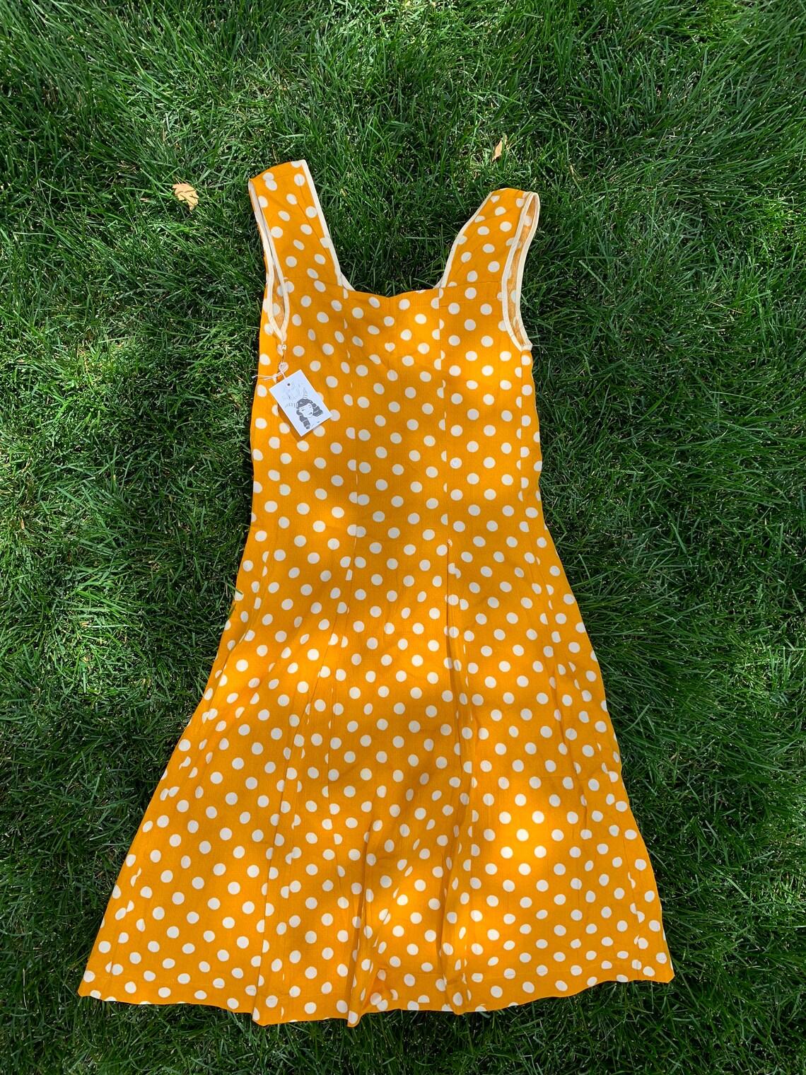1960s Mod Yellow Polka Dot Designer A-Line Tank Dress