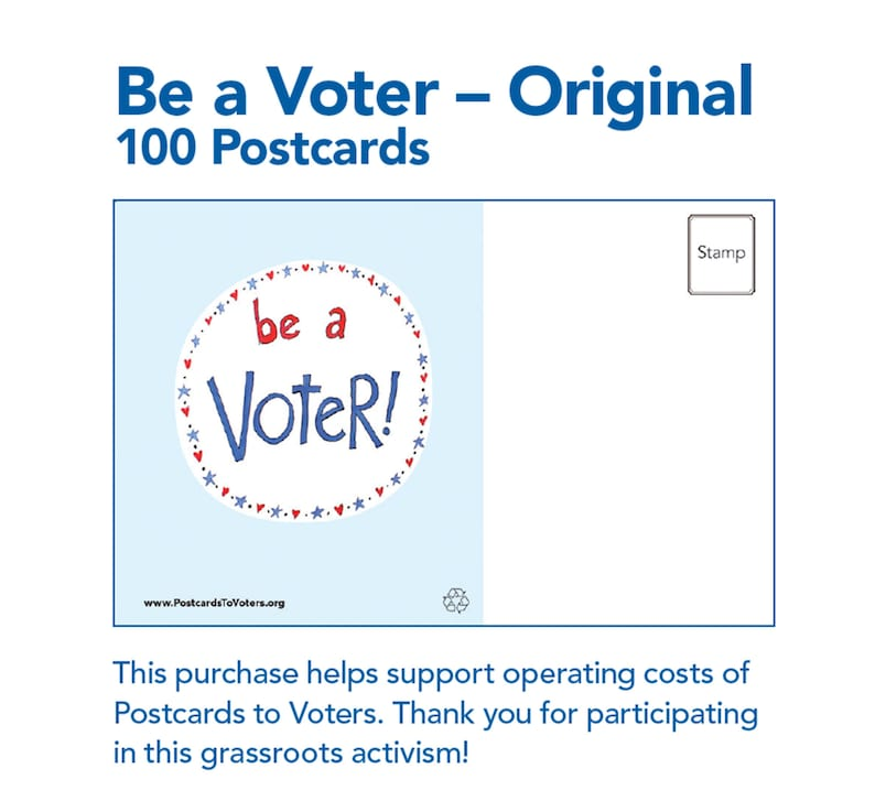 be a voter postcards original design with blank back 100