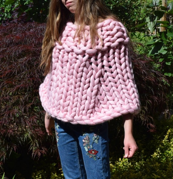 Pastel Chunky Knit Poncho Knitted Bolero Poncho Giant Knit Cover Up Knitted Poncho Merino Wool Poncho Chunky Knit Poncho