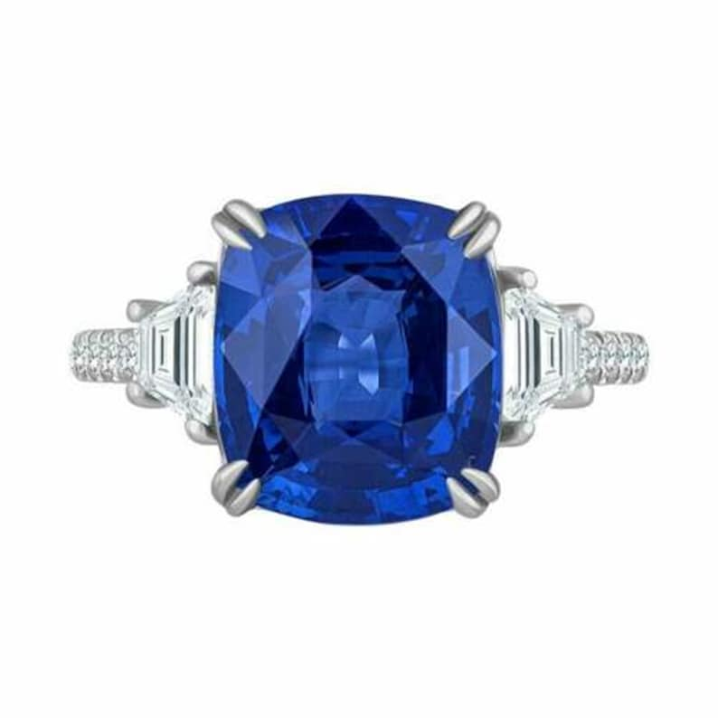 Three Stone With Accent Ring Cushion Cut Sapphire /& Diamond Engagement Ring Prong Setting Woman/'s Wedding Ring Solitaire With Accent