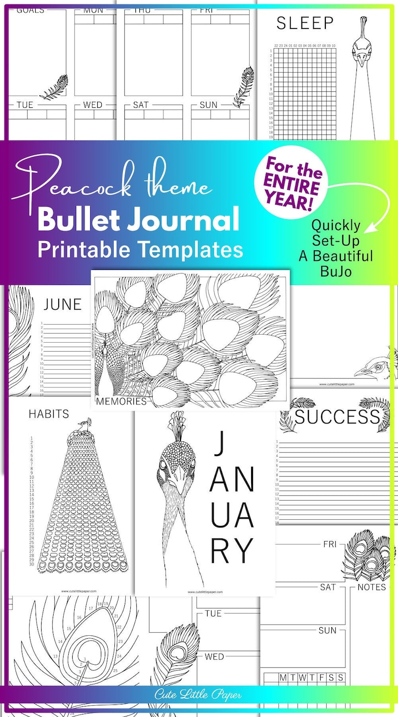 Peacock Bullet Journal Printable Template Pages. Monthly image 0