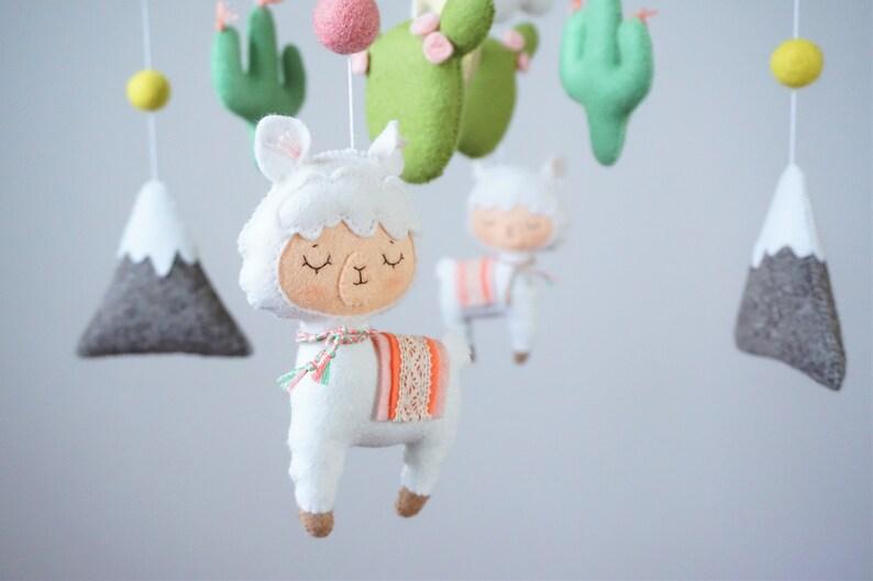 Baby nursery llama Nursery mobile Baby shower gift Crib Cot mobile Boho nursery Llama and cactus baby mobile Baby girl mobile
