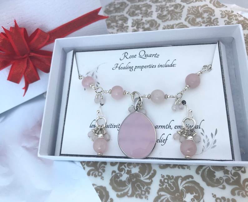 pink beaded necklace cluster dangling earring set handmade gift for het attraction classic elegant Rose quartz gemstone simple pendant