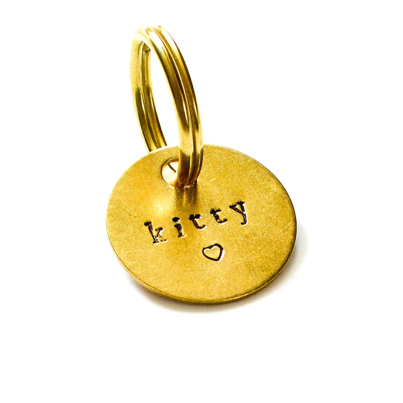 1 or 1 14 Personalized Dog ID Tag  Custom Stamped Dog Tag  Pet ID tag  Personalized Keychain  Solid Brass ID Tag for Dogs  Heart