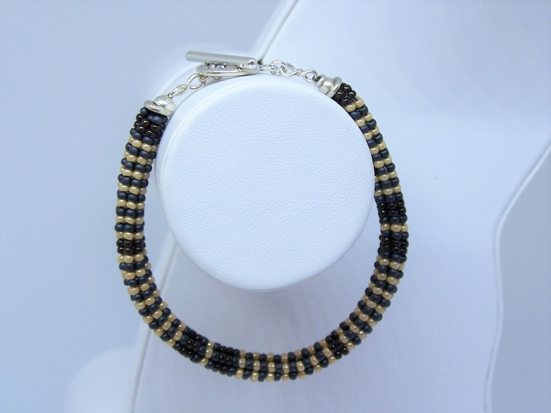 Beaded Western Style Bracelet with Sterling Silver Toggle Clasp