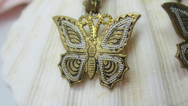 Earrings 1950/'s Toledo 50/'s fashion 1950/'s Revival Butterflies Clip-on Spanish Vintage Damascene