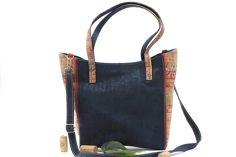 Cork handbag KAJA blue-#cork #handbag #nachhaltig #vegan #shoulderbag #crossbodybag #umh\u00e4ngetasche #Natur #nature #wood #kork