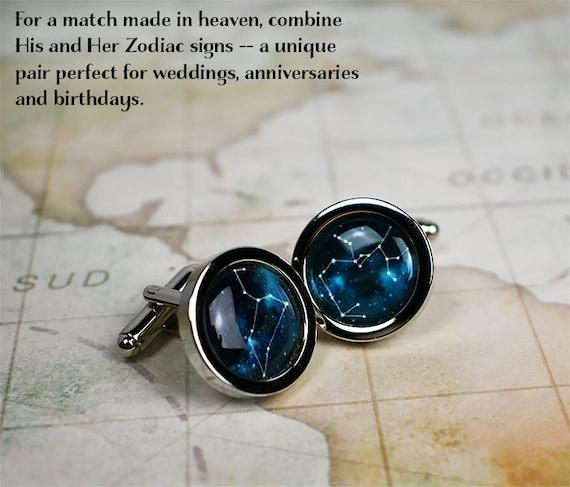 celestial constellation cufflinks astrology gift anniversary or birthday gift for him wedding Zodiac cufflinks Aquarius cuff links