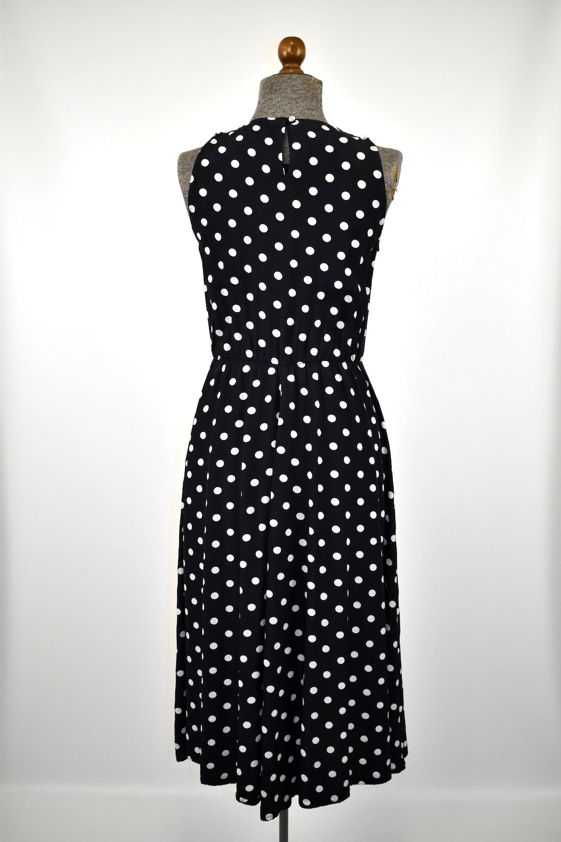1980s Sleeveless Rayon Black/White Fit and Flare Midi Dress//