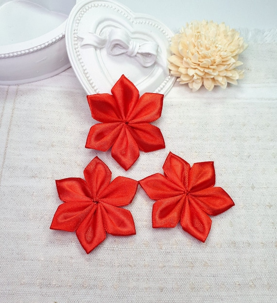 Handmade Flower Appliques Wedding Flower Supplies Unfinished Craft Flowers Red Ribbon Decorative Flowers