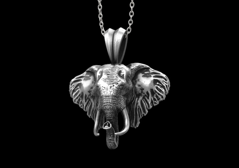 Elephant Pendant Silver Elephant Head Necklace African Elephant Necklace Animal Silver Necklace Sterling Silver Elephant Head Pendant