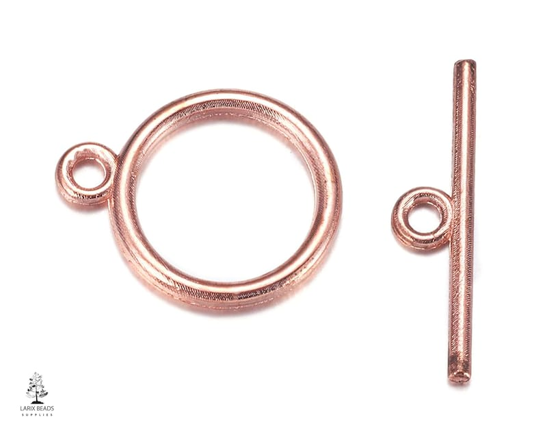 Simple Bar and Ring Clasps Rose Gold T Bar Clasps for Jewelry Jewelry Supplies Rose Gold Jewelry Findings Small Toggle Bar Clasps