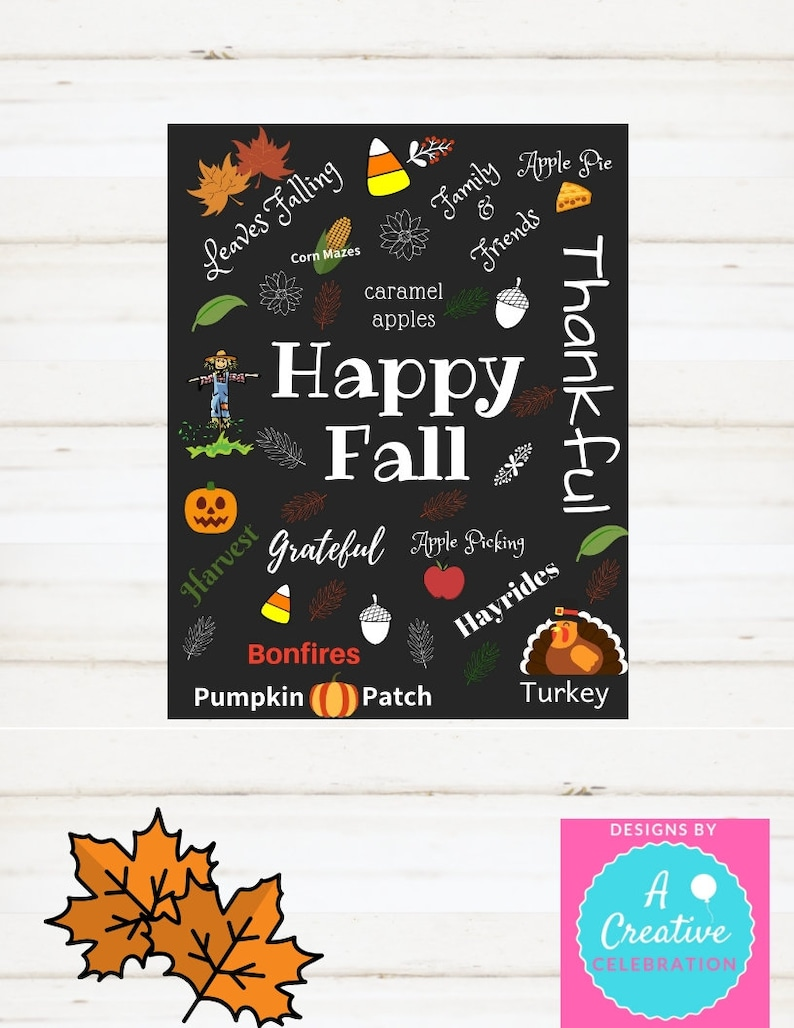 Instant Print Sign Happy Fall Happy Thanksgiving Fall Decor image 0
