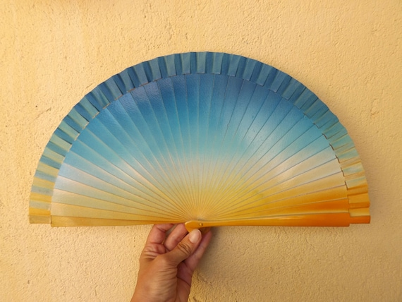 Folding Fan Wood Fabric ~ Made to Order MTO Std Scallop Gold Natural Wooden Hand Fan ~ Traditional Spanish Fan