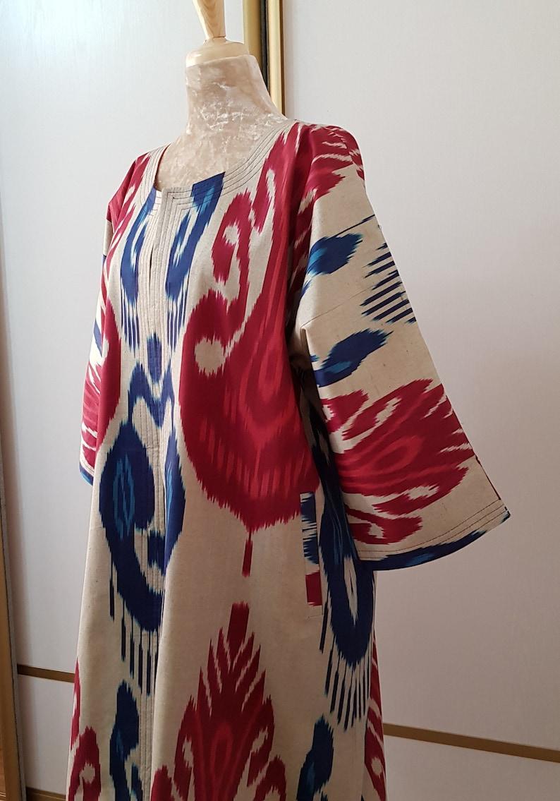 Women ikat coat,handmade red chapan,boho ikat jaket,hippie ikat kaftan,tribal ikat robe,oversized ikat kimono,handwoven fabric Uzbekistan