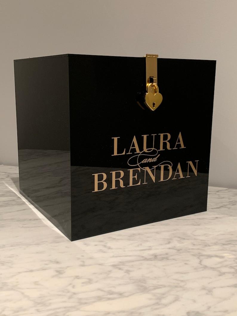 personalised acrylic wishing well box rose gold black  etsy