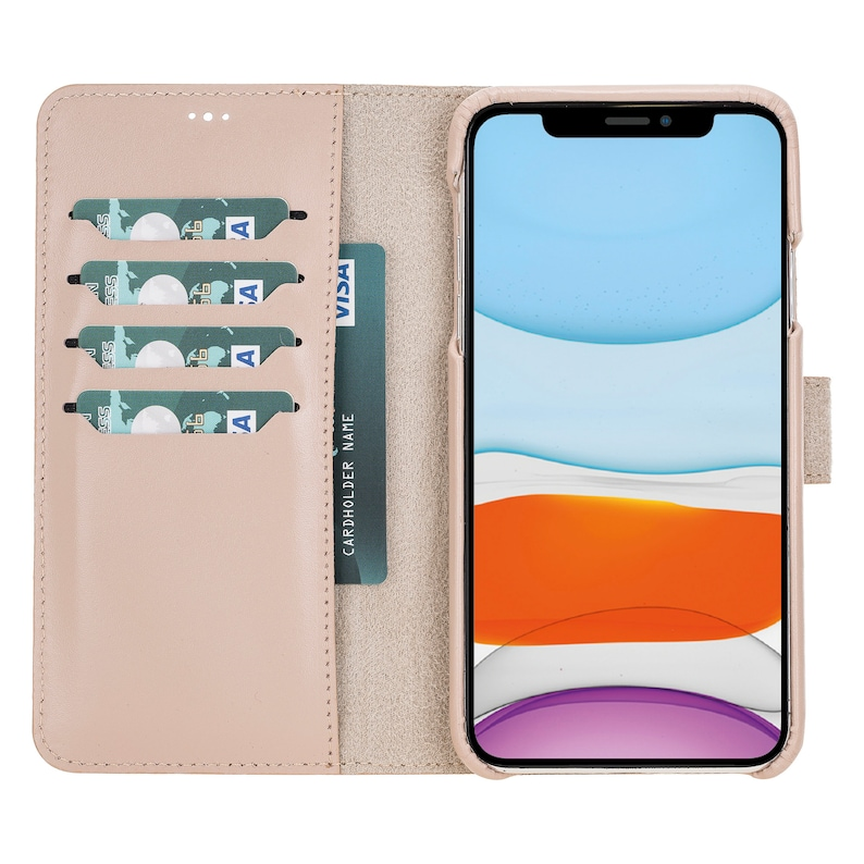 Apple iPhone 11 Pro MAX Full Leather Covered Magnetic Detachable Wallet Case in Rose by Mjora 6.5