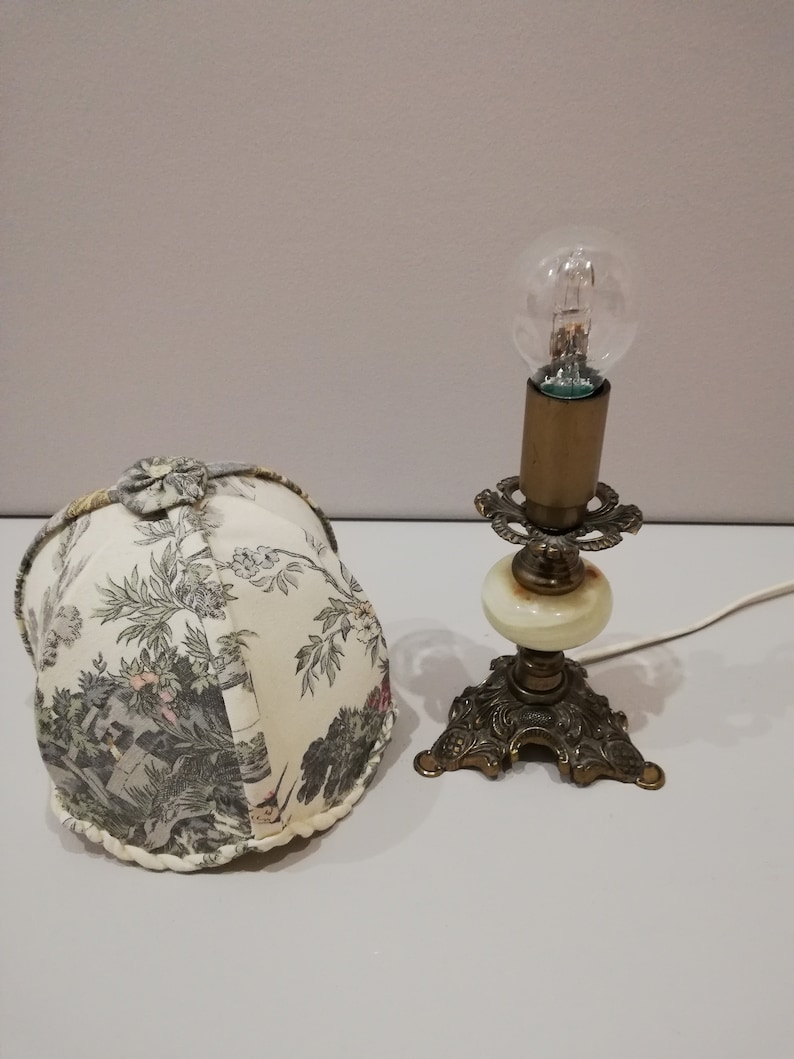 Antique Marble lamp  With Brass-Beautiful Japanese art-Made in Italy