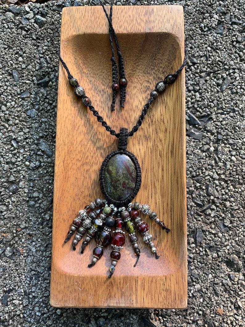 Bloodstone Hemp Wrapped Macram\u00e9 Necklace
