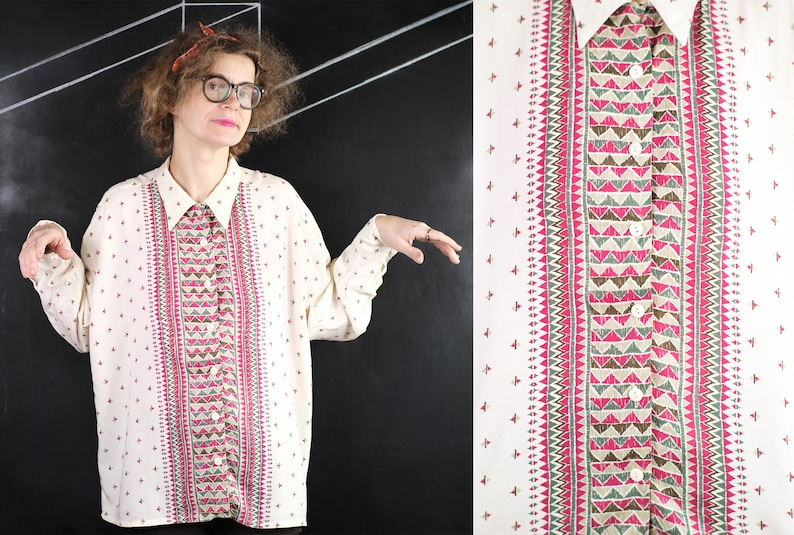90s Tillverkad BLOUSE fashion hipster retro rave faded romantic date office pub party Scandinavian grey red triangle pattern design XXL 2XL