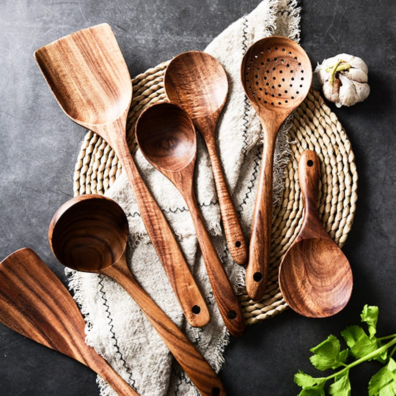 7Piece Wooden Kitchen Utensil SetCooking UtensilNatural All Set(7)+Gift Rap