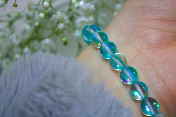 One of a Kind Tibetan Silver Handmade Aqua Jade and Mystic Aura Bracelet Tropical Style Gift Elastic Gemstones and Crystals