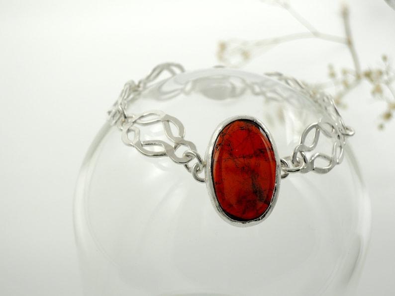 pure silver Garnet silver bracelet artisan jewerly ancient style bracelet Roman silver bracelet made in Italy.