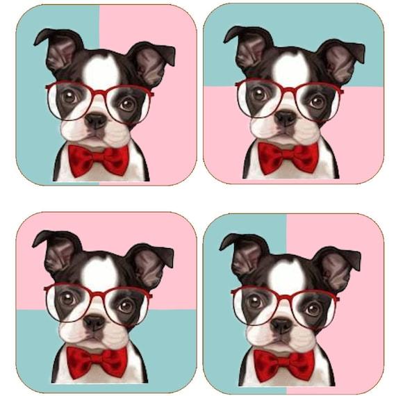 Boston Terrier Coaster Set Etsy