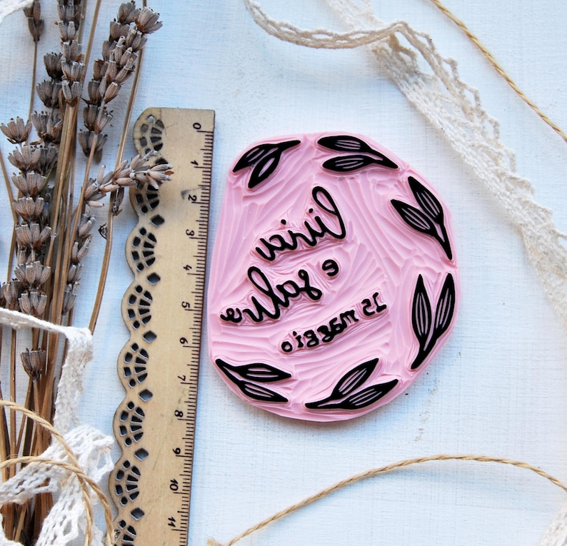 Handmade customized wedding favor with handmade customized stamp for marriage
