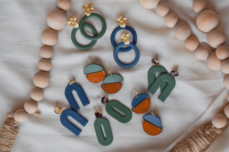 Deep Sea Blue ForestPine Green Super Lightweight Wood Semicircle Circle Earrings