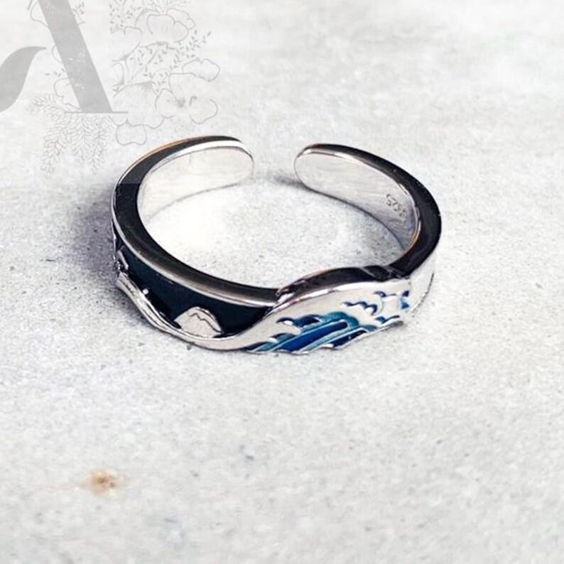 Hokusai Ring Art lover Gift Japanese painting Ring Japanese Wave Ring Famous Painting Ring Blue Ocean Ring Jewellery For Art Lover,