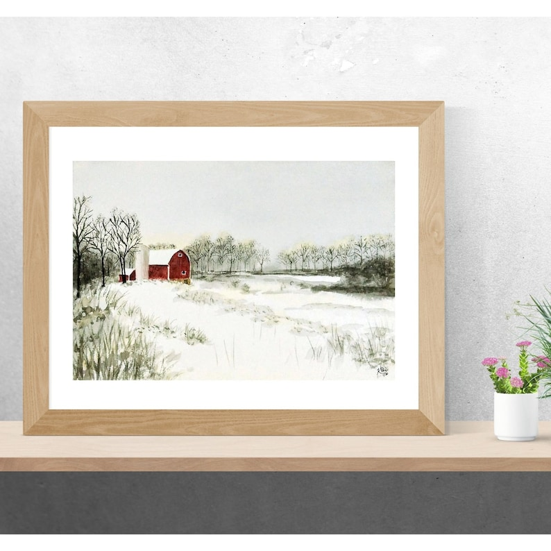 watercolor winter landscape red barn painting rural winter painting Barn in snow ORIGINAL watercolor winter scene country barn