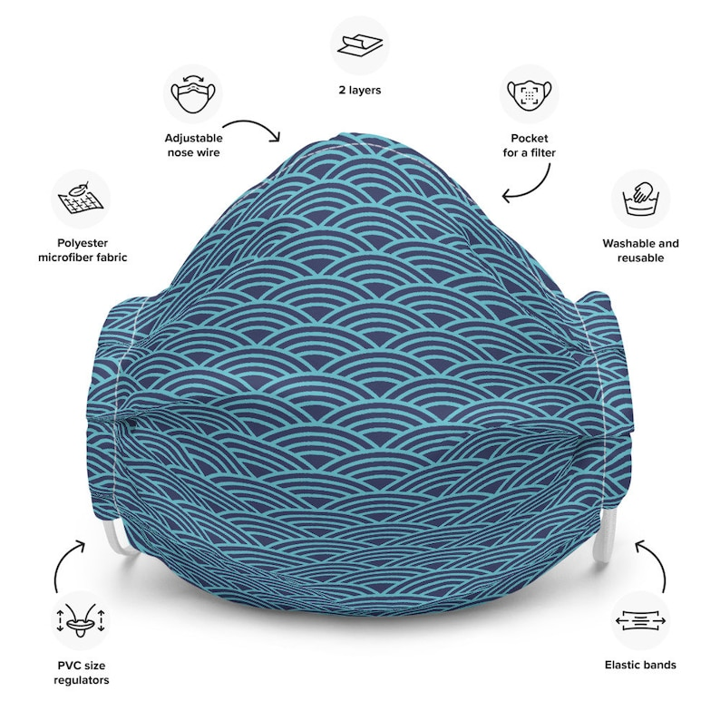 Face mask blue wave pattern washable adjustable face mask for   EtsyEtsy