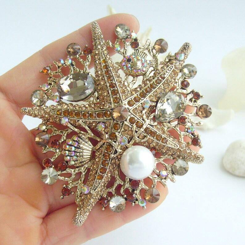 Wedding Bridal Vintage Starfish Brooch Pendant Rhinestone Crystal Bouquet Pin