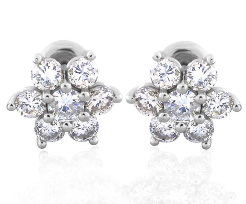 Wedding /& Fashion Earrings 14KT White Gold Finish For Women Girl Round Diamond Earrings Flower Stud Earrings Valentine Earrings