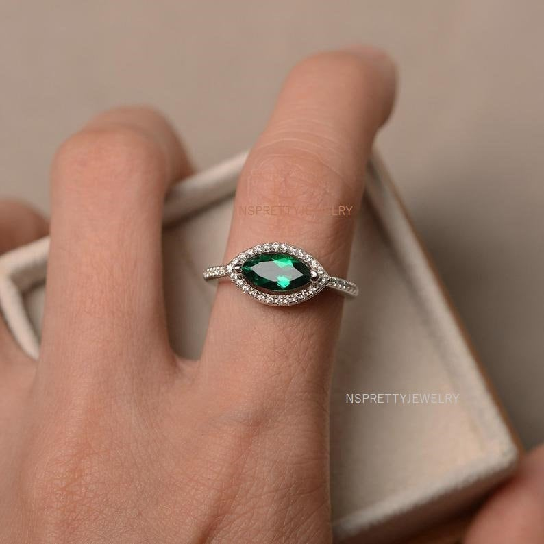 marquise cut ring straight shank ring Emerald Gemstone Ring  Marquise Lab grown emerald ring halo ring engagement ring sterling silver