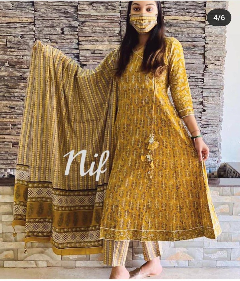 Printed pant with duppta Gota work detailing on yoke part.and aari work with printed and