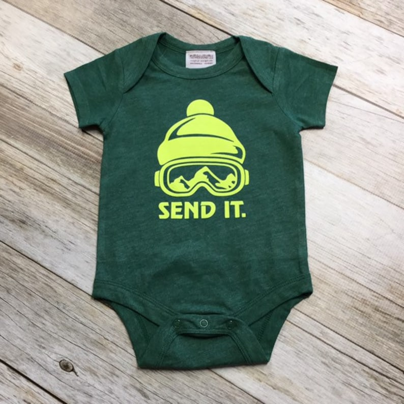 Boys Short sleeve Send It Bodysuit  Green  3-6months/6-12 image 0