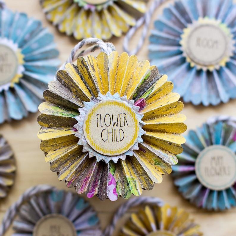 Flower Child Rosette Ornaments  summer decor  Paper image 0