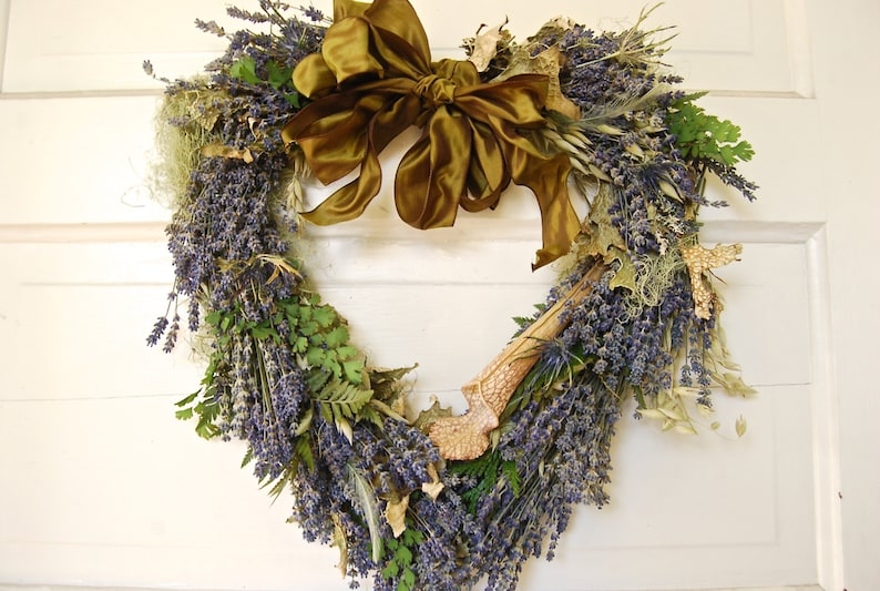 Romantic Woodland Heart Shaped Wreath of Lavender Moss image 0